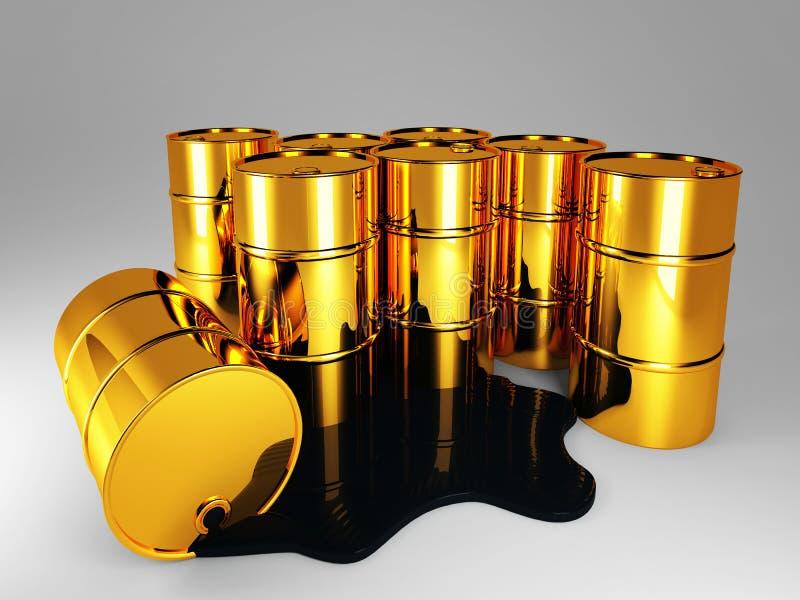 Barril de petróleo dourado ilustração do vetor