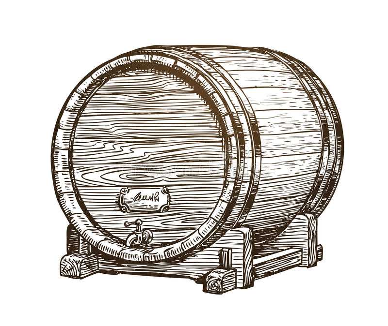 Barril de vinho de madeira tirado mão do vintage Bebida, esboço do tambor do carvalho Ilustração do vetor ilustração royalty free