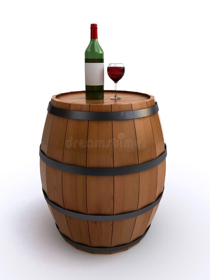 Barril de vino con una botella y un vidrio de vino rojo ilustración del vector