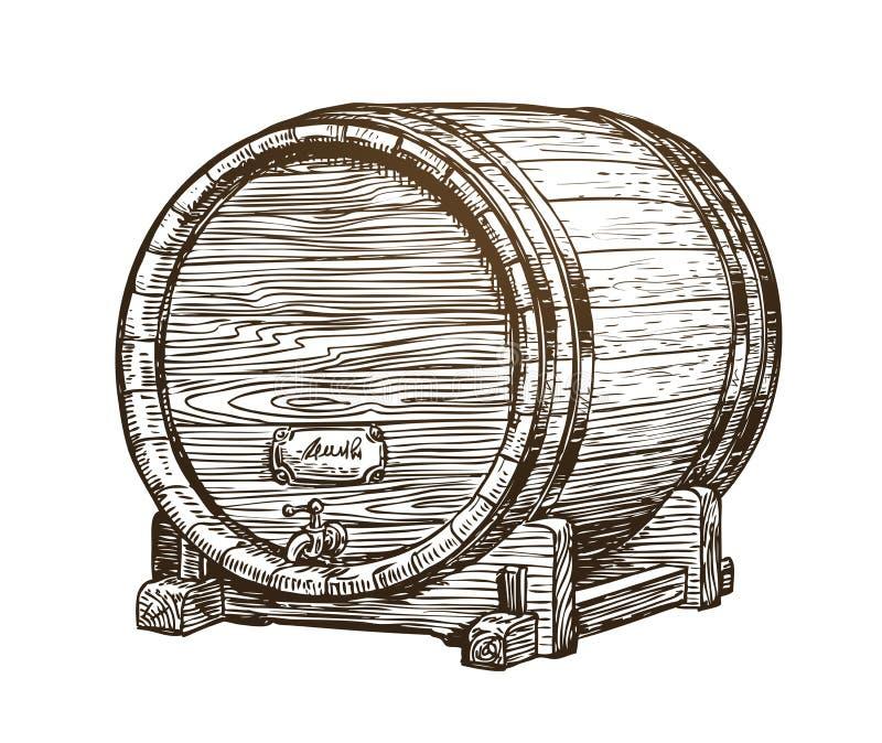 Barril de vino de madera dibujado mano del vintage Bebida, bosquejo del barril del roble Ilustración del vector libre illustration