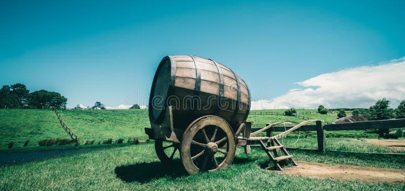 Barril de vino en campo de hierba verde en tono del vintage fotografía de archivo