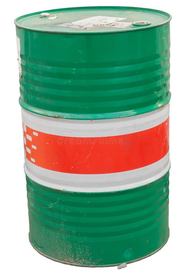 Barril del bidón de aceite del galón aislado en Backgroun blanco fotografía de archivo libre de regalías