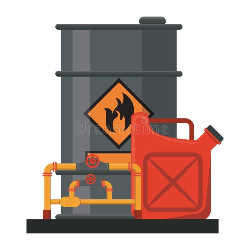 Barril del petróleo con aceite stock de ilustración