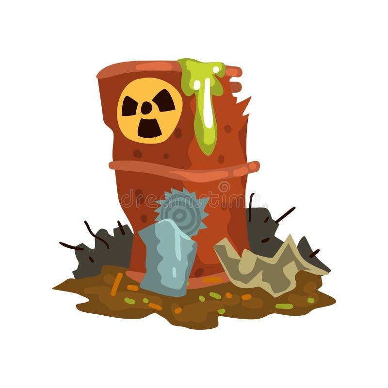 Barril que fluye oxidado de basura nuclear, descarga inútil tóxica, desastre ecológico, concepto de la contaminación ambiental, v stock de ilustración