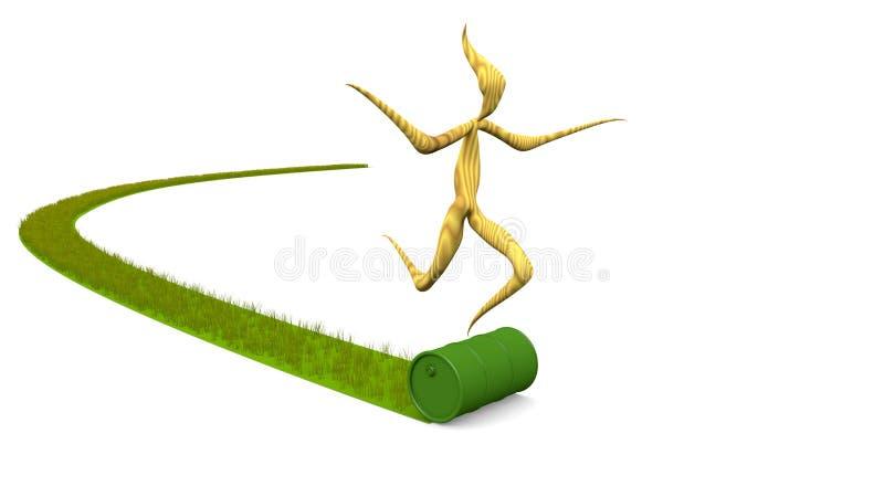 Barril, roble e hierba stock de ilustración