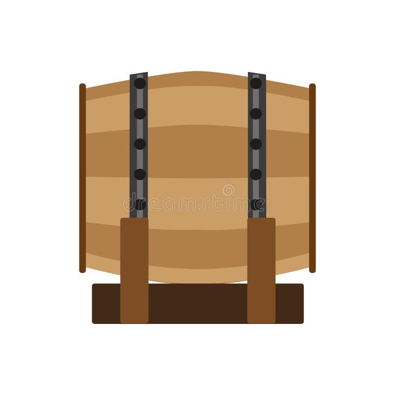 Barril viejo de la etiqueta del alcohol del whisky del vino del vector de la cerveza del barril del ejemplo del barrilete blanco  stock de ilustración