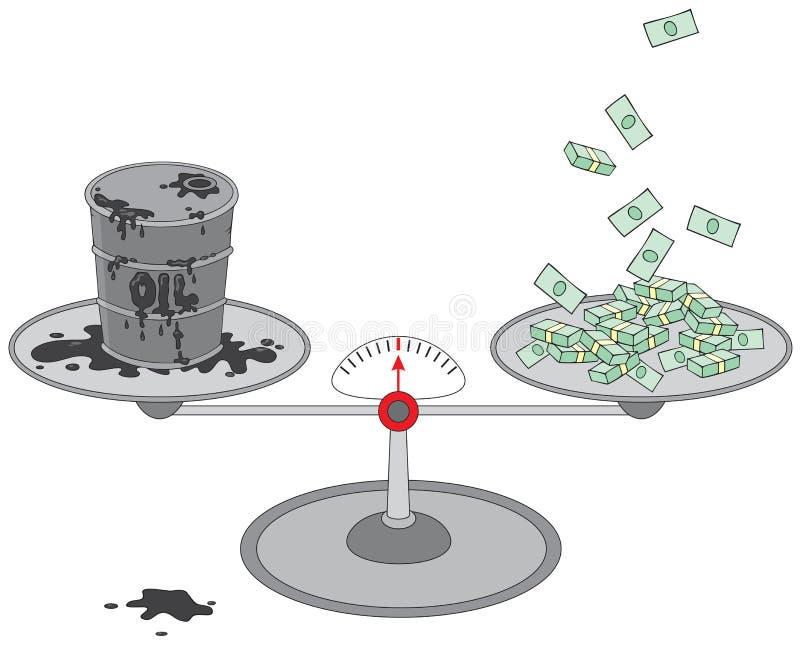 Barril y dinero de petróleo en escalas imágenes de archivo libres de regalías