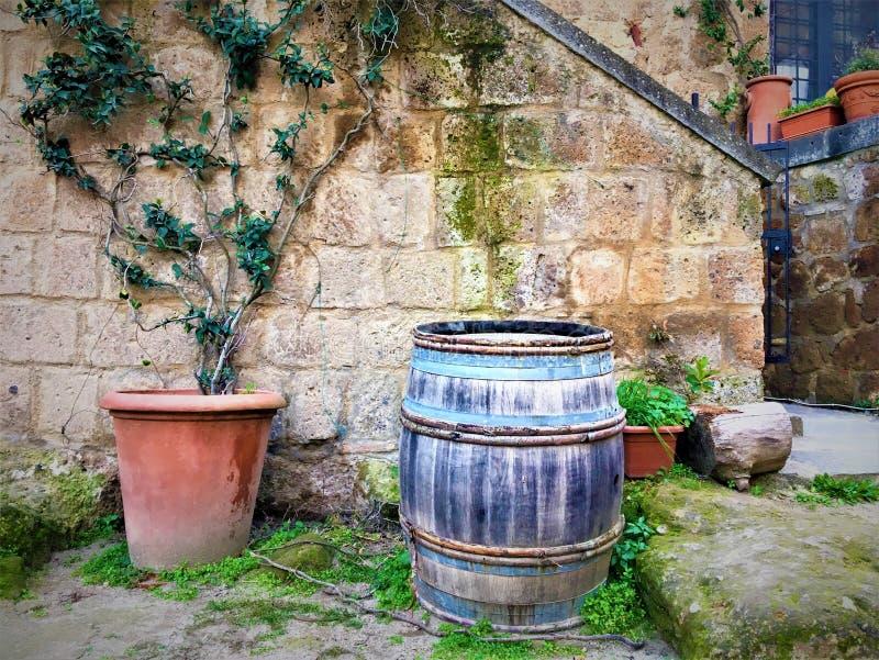 Barril y esquina del vintage, planta y cuento de hadas en Civita di Bagnoregio, ciudad en la provincia de Viterbo, Italia imagenes de archivo