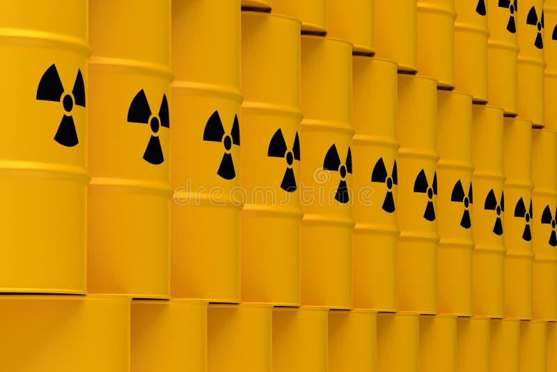 Barriles amarillos de los desechos radioactivos stock de ilustración