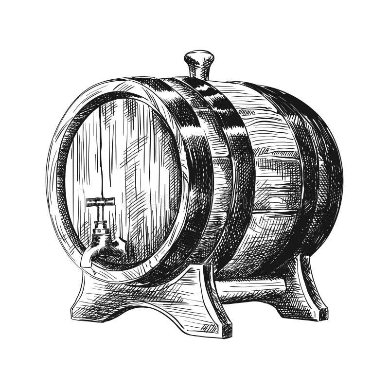 Barriles clásicos del roble para el vino libre illustration