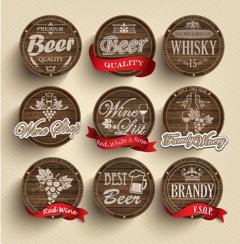 Barriles con los emblemas del alcohol stock de ilustración