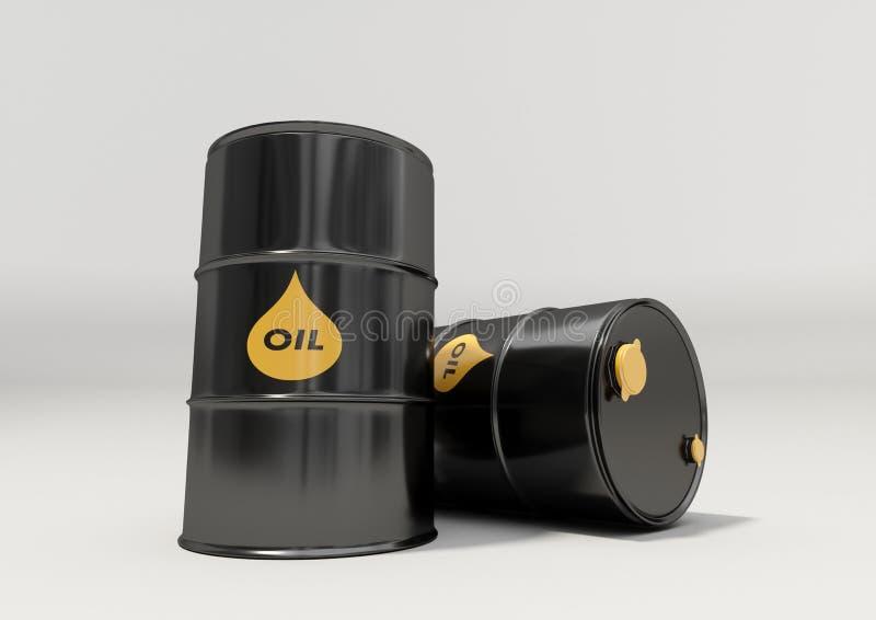 Barriles de aceite negros del metal en el fondo blanco foto de archivo
