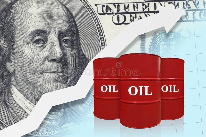 Barriles de aceite rojos con la flecha blanca para arriba Concepto de la industria de petróleo Aumento de la carta de los precios imágenes de archivo libres de regalías