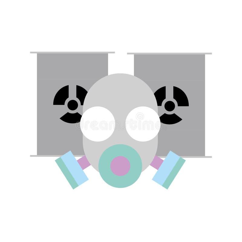 Barriles de la máscara protectora y del peligro del respirador stock de ilustración