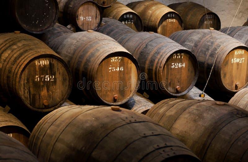 Barriles de madera con el vino dentro del lagar tradicional con el sótano oscuro para la vinificación imagenes de archivo