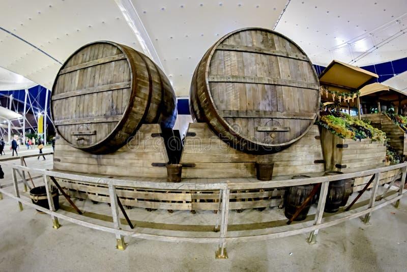 Barriles de madera grandes de vino en Italia imagen de archivo