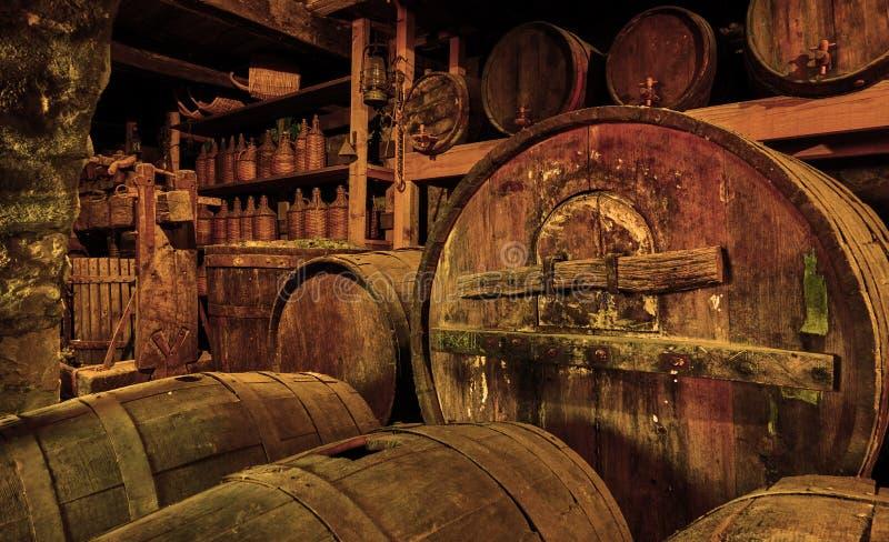 Barriles de vino en sótano viejo fotos de archivo libres de regalías