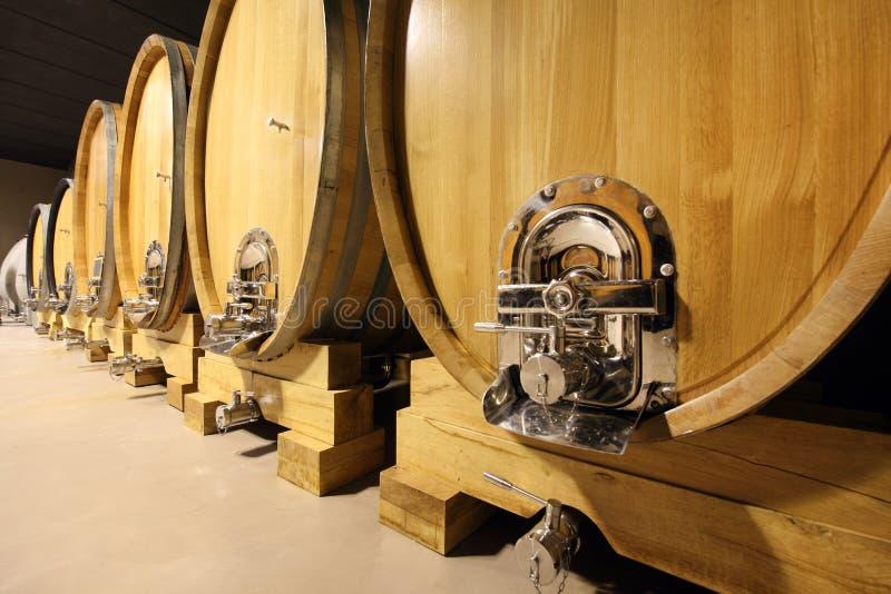 Barriles de vino en una bodega imágenes de archivo libres de regalías