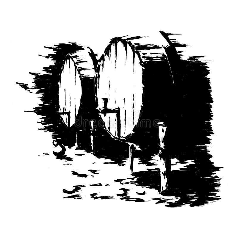 Barriles de vino - ilustración vectorial en blanco y negro de dos barriles de madera stock de ilustración