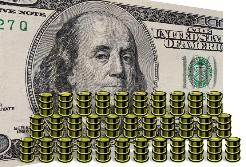 Barriles del dinero y de petróleo foto de archivo libre de regalías
