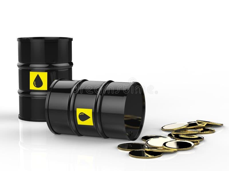 Barriles del petróleo crudo con las monedas de oro ilustración del vector