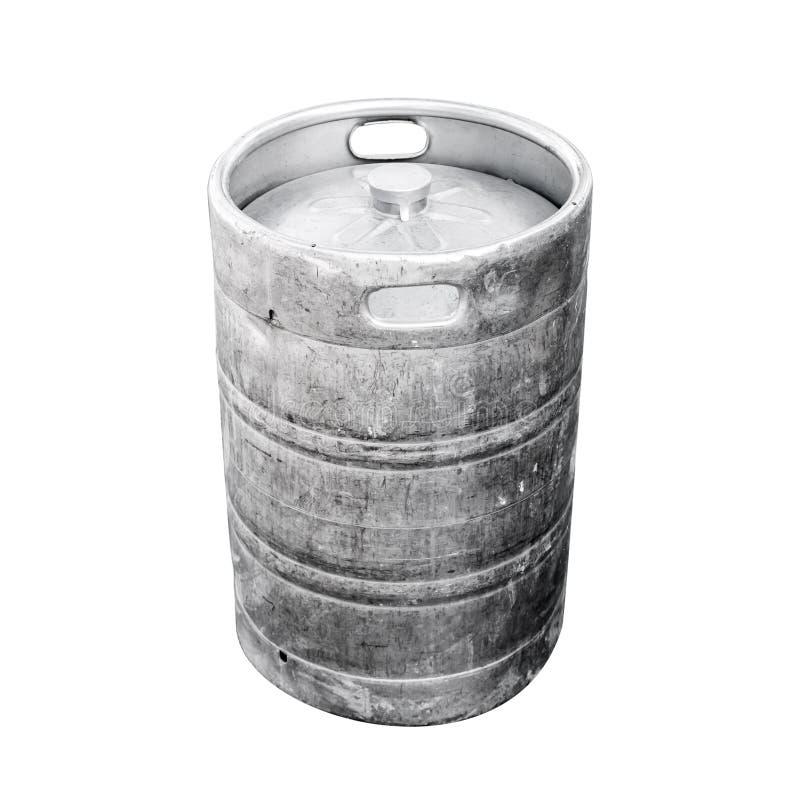 Barrilete de aluminio usado, un pequeño barril con la cerveza imágenes de archivo libres de regalías