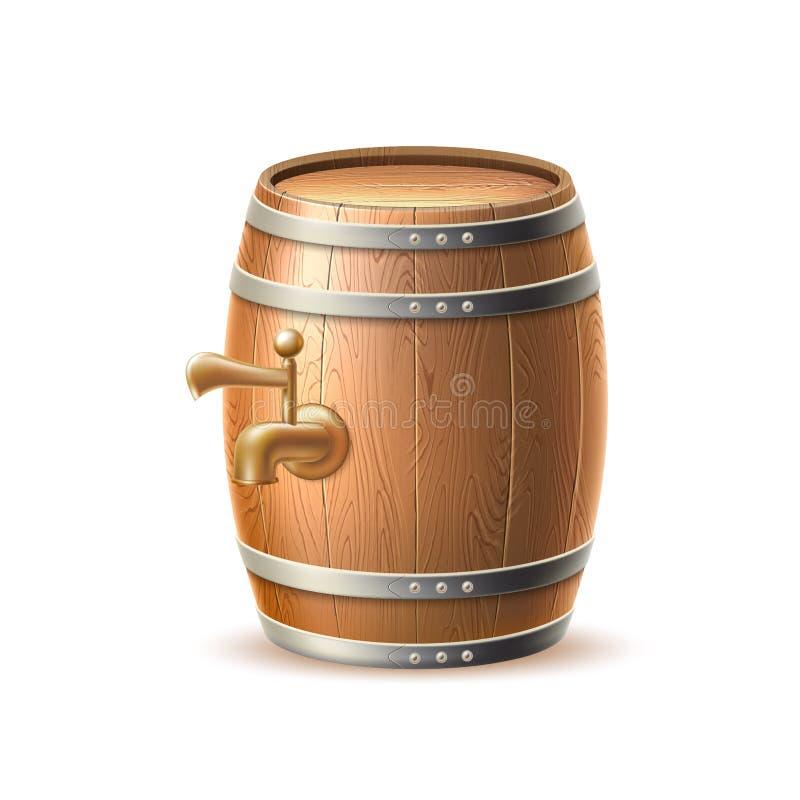 Barrilete de madera realista 3d, cervecería de Vecot del barril del roble libre illustration