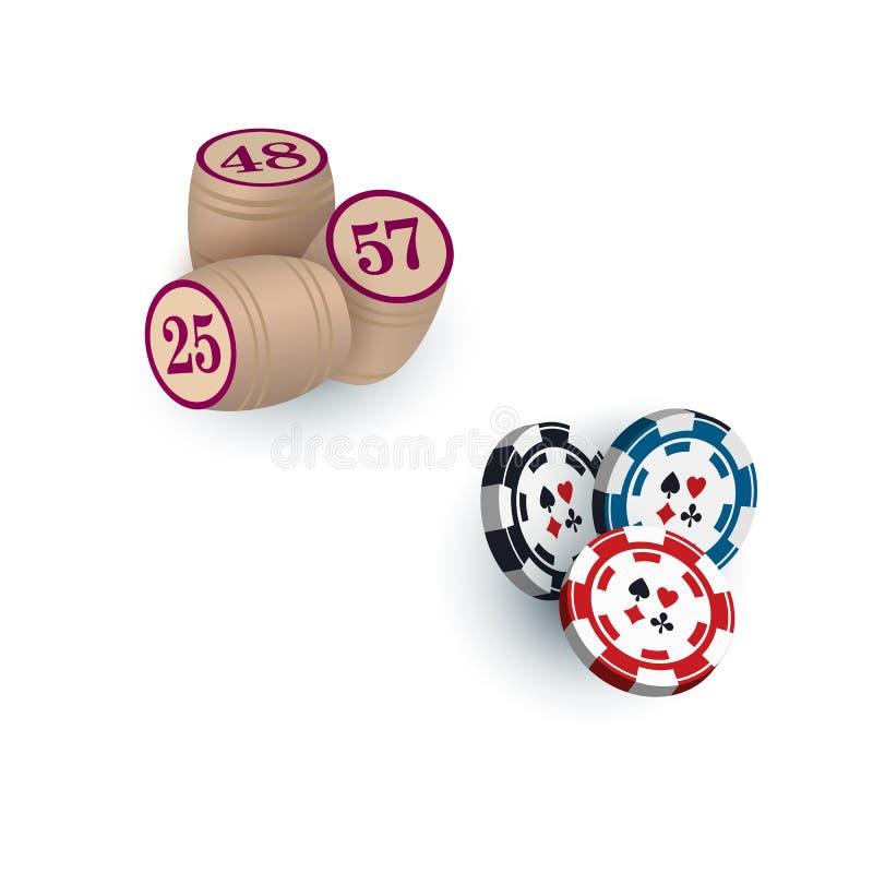 Barriletes para los microprocesadores del juego y del casino de la loteria del bingo, símbolos libre illustration