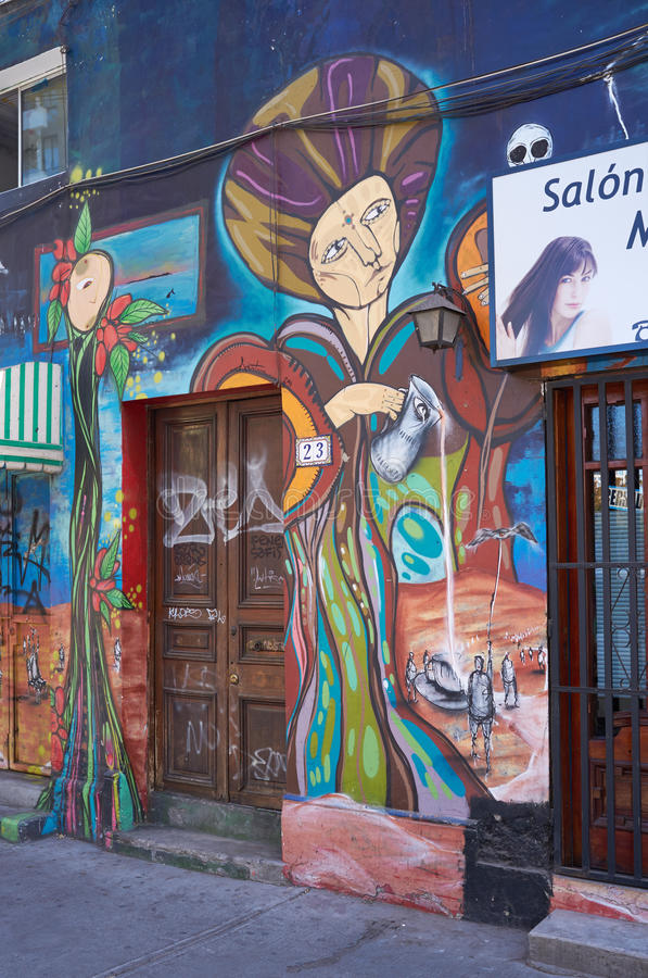 Barrio Bellavista. Brightly colored murals in Barrio Bellavista, Santiago, Chile. This neighborhood is renowned for its street art and for its many cafes royalty free stock images