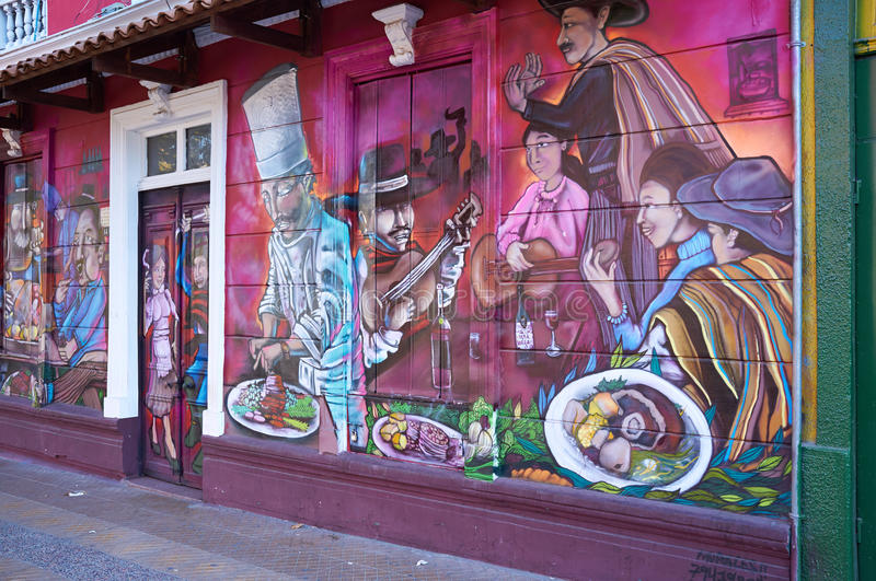 Barrio Bellavista. Brightly colored murals in Barrio Bellavista, Santiago, Chile. This neighborhood is renowned for its street art and for its many cafes stock photo