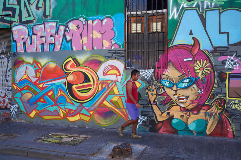 Barrio Bellavista. Brightly colored murals in Barrio Bellavista, Santiago, Chile. This neighborhood is renowned for its street art and for its many cafes stock photography
