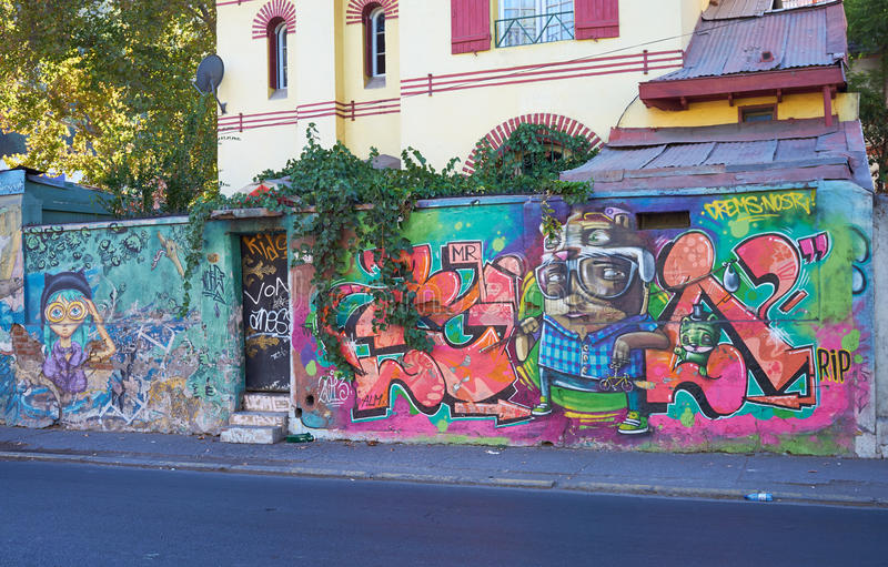 Barrio Bellavista. Brightly colored murals in Barrio Bellavista, Santiago, Chile. This neighborhood is renowned for its street art and for its many cafes stock image