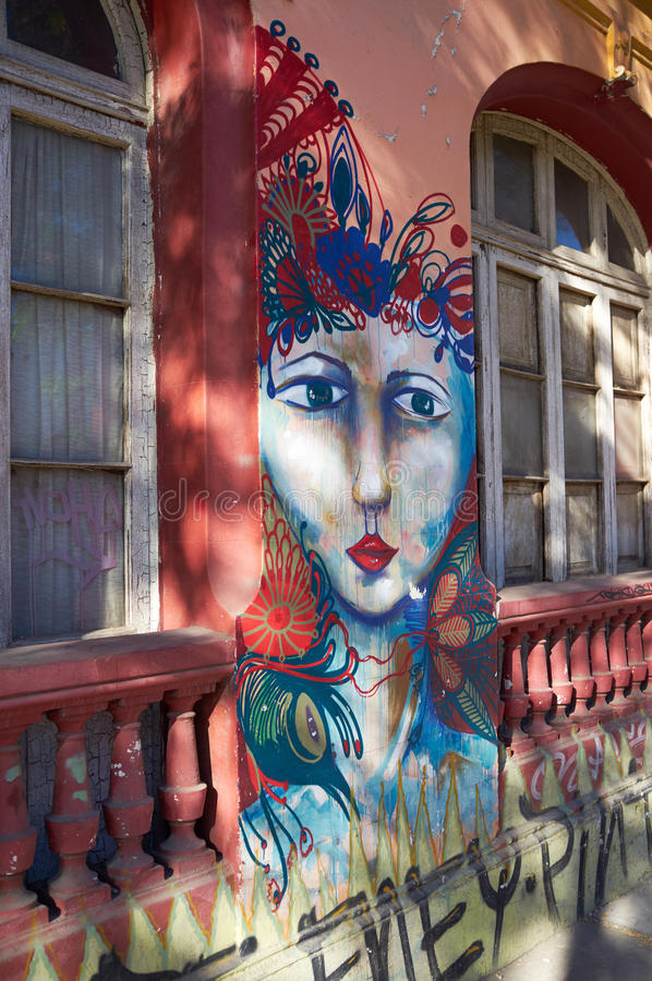 Barrio Bellavista. Brightly colored murals in Barrio Bellavista, Santiago, Chile. This neighborhood is renowned for its street art and for its many cafes stock images