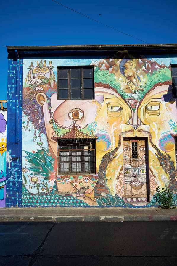 Barrio Bellavista. Brightly colored murals in Barrio Bellavista, Santiago, Chile. This neighborhood is renowned for its street art and for its many cafes royalty free stock photography