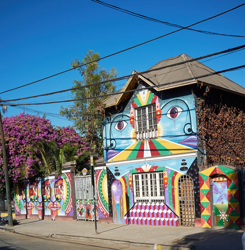 Barrio Bellavista in Santiago, Chile. Brightly colored murals in Barrio Bellavista, Santiago, Chile. This neighborhood is renowned for its street art and for its royalty free stock images