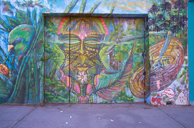 Barrio Bellavista. Brightly colored murals in Barrio Bellavista, Santiago, Chile. This neighborhood is renowned for its street art and for its many cafes stock photos