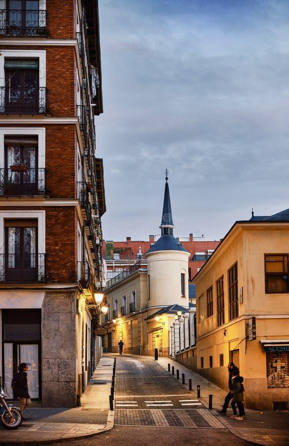Barrio de La Latina en la noche Madrid, España fotos de archivo libres de regalías