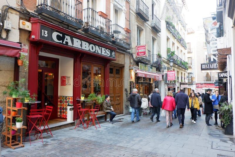 Barrio de Las Letras, Madrid royaltyfri fotografi