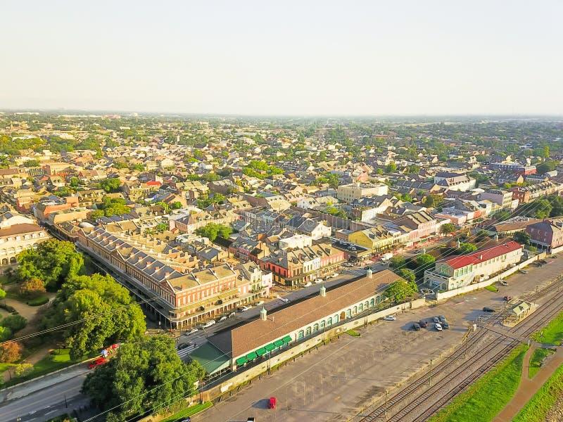 Barrio francés histórico de la visión aérea en New Orleans, Luisiana, U foto de archivo