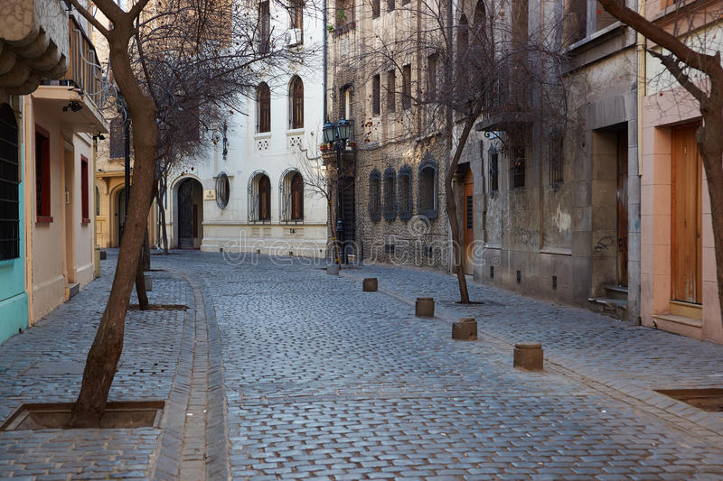 Barrio Londres. Historic buildings lining the cobbled streets of Barrio Londres in Santiago, Chile stock photo