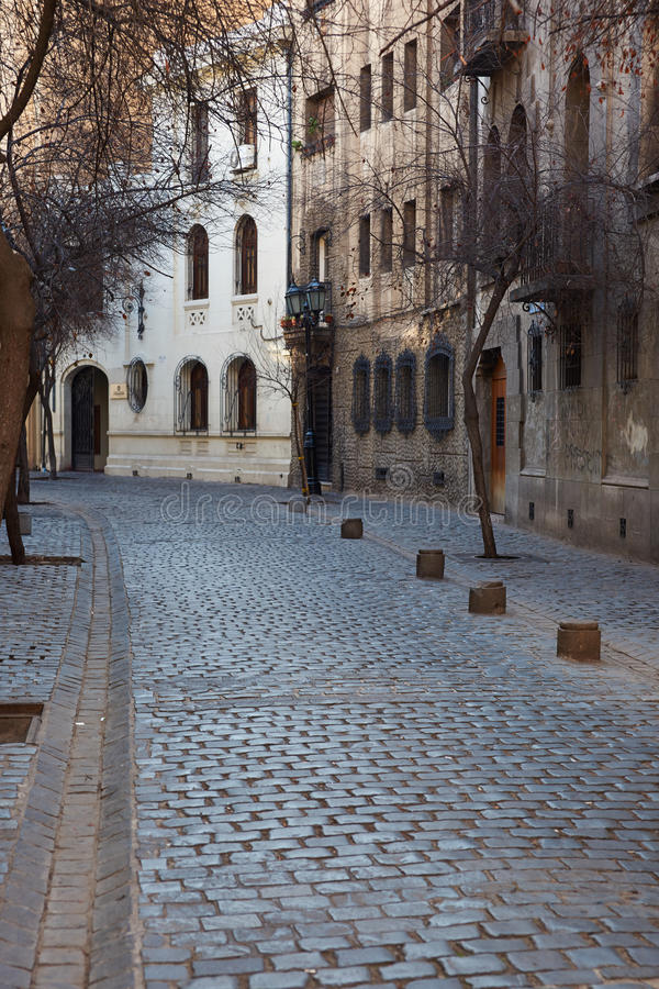 Barrio Londres. Historic buildings lining the cobbled streets of Barrio Londres in Santiago, Chile royalty free stock photos