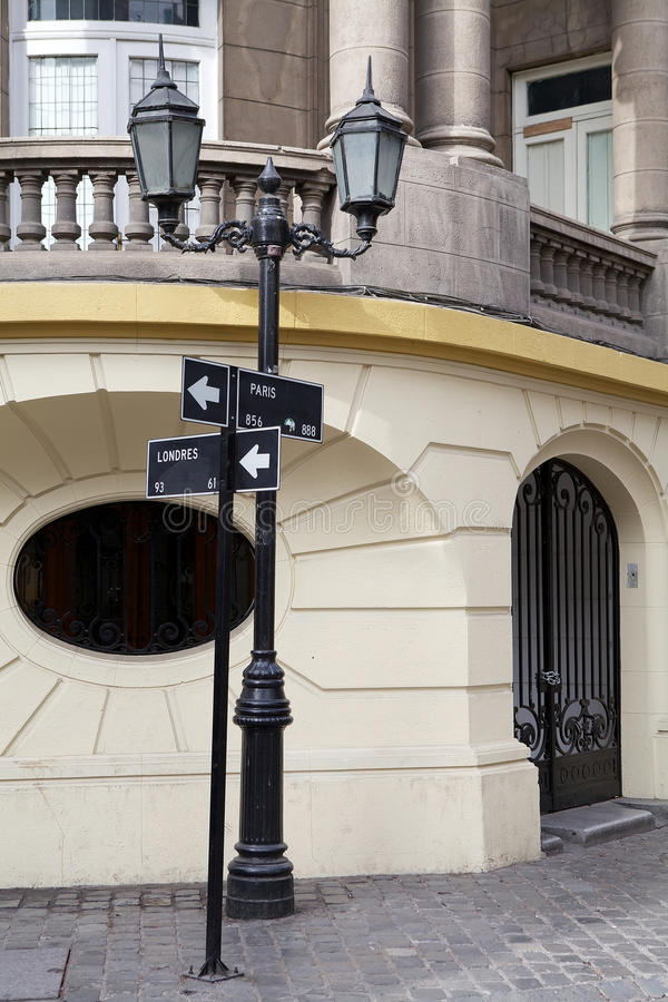 Barrio Paris-Londres in Santiago, Chile stockbild