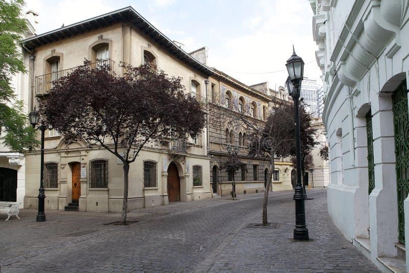 Barrio Paris-Londres in Santiago, Chile stockbilder