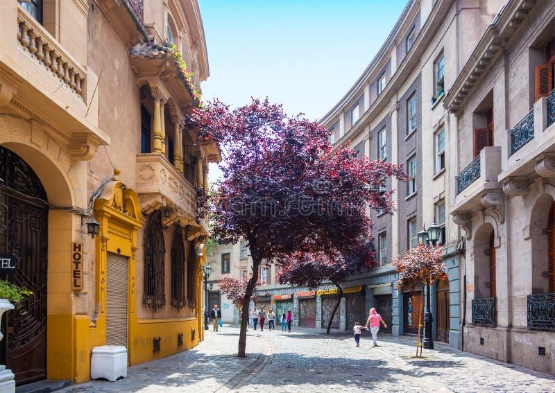 Barrio Paris-Londres in Santiago, Chile. SANTIAGO, CHILE - OCTOBER 23, 2016: Street of Barrio Paris-Londres neighborhood. This european style area includes shops stock image