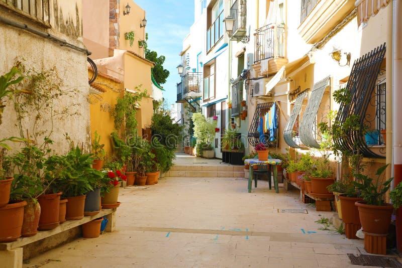 Barrio Santa Cruz de manhã, Alicante, Costa Blanca, Espanha fotografia de stock royalty free