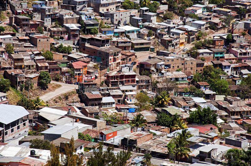 Barrio in Tegucigalpa. Looking down from El Picacho at a barrio below. This shows the crowding and squalor in which the poor Hondurans live out their lives royalty free stock image