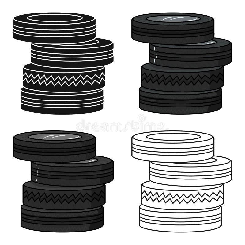Barrique do ícone dos pneus no estilo dos desenhos animados isolado no fundo branco Ilustração do vetor do estoque do símbolo do  ilustração royalty free