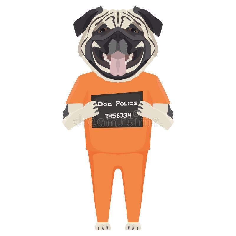 Barro amasado del perro de la ropa de la prisi?n del Mugshot ilustración del vector