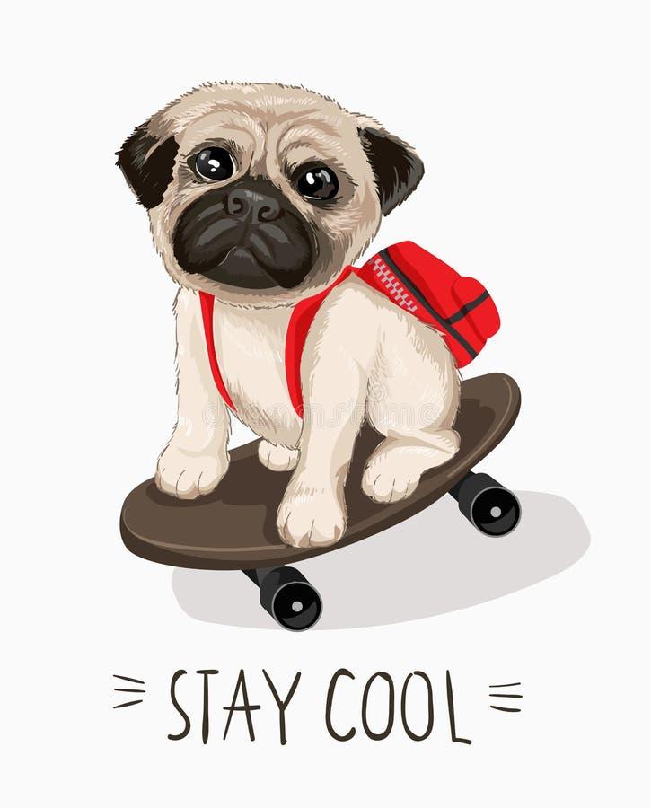 Barro amasado exhausto con andar en monopatín para imprimir, camiseta del perrito del lema y de la mano de la tipografía libre illustration