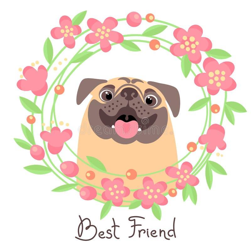 Barro amasado feliz Mejor amigo - perro y guirnalda de flores en el estilo de la historieta stock de ilustración